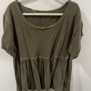 FREE PEOPLE ARMY GREEN TOP
